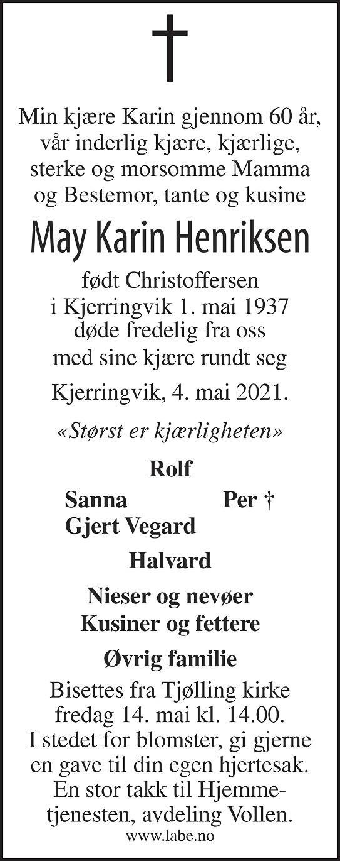 May Karin Henriksen Dødsannonse