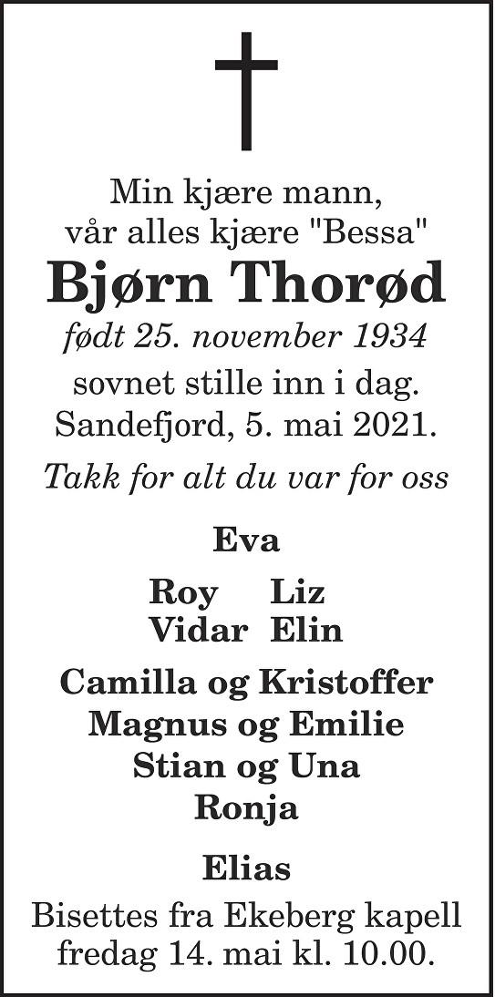 Bjørn Thorød Dødsannonse