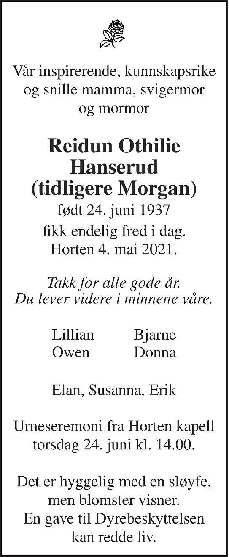 Reidun Othilie Hanserud Dødsannonse