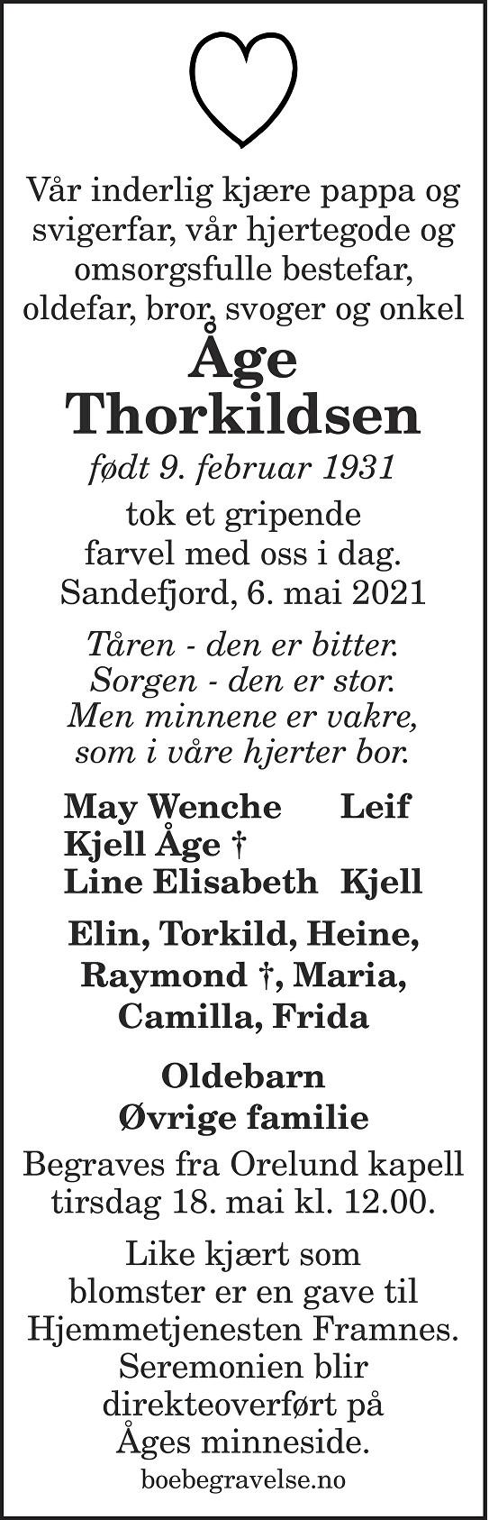 Åge Thorkildsen Dødsannonse