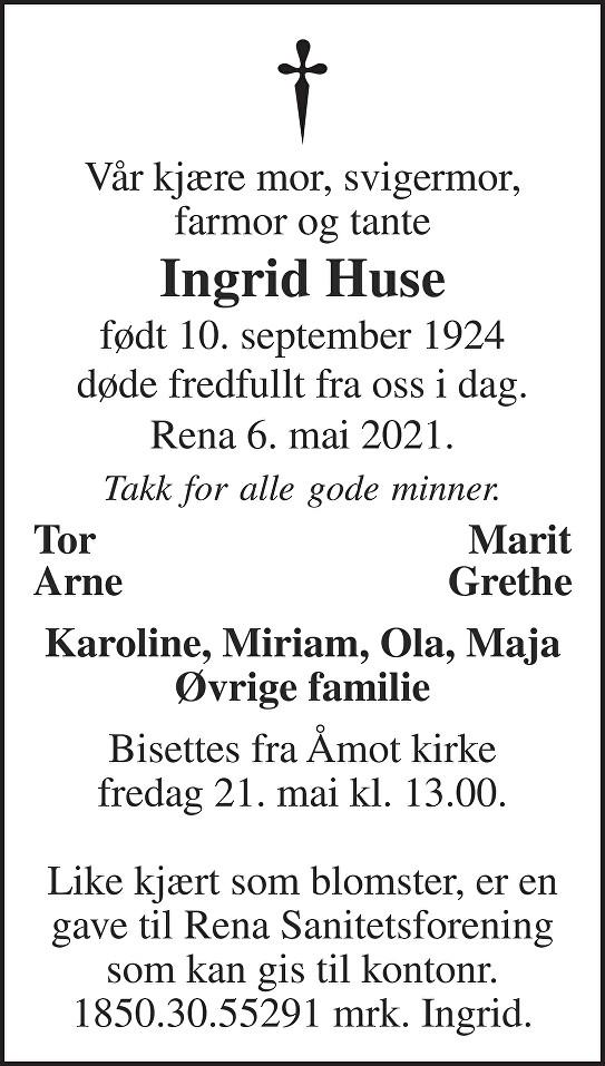 Ingrid Huse Dødsannonse