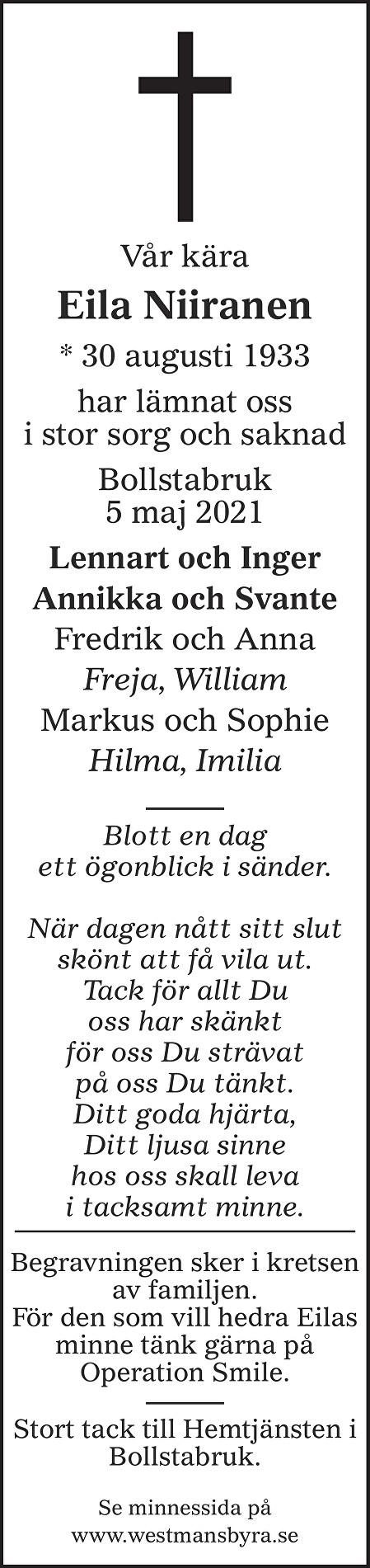 Eila Niiranen Death notice
