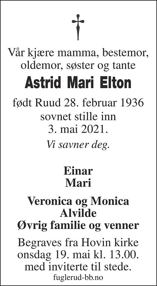 Astrid Mari Elton Dødsannonse