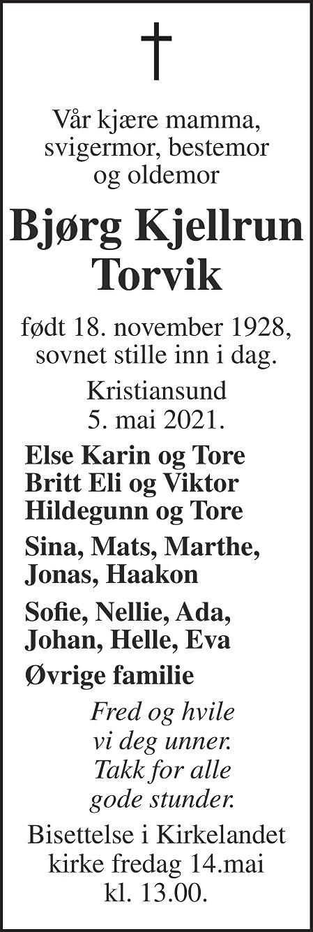 Bjørg Kjellrun Torvik Dødsannonse