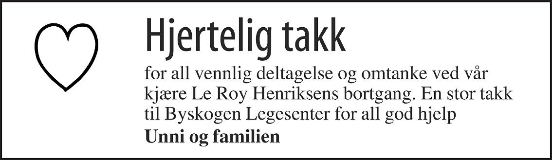 Le Roy Henriksen Dødsannonse