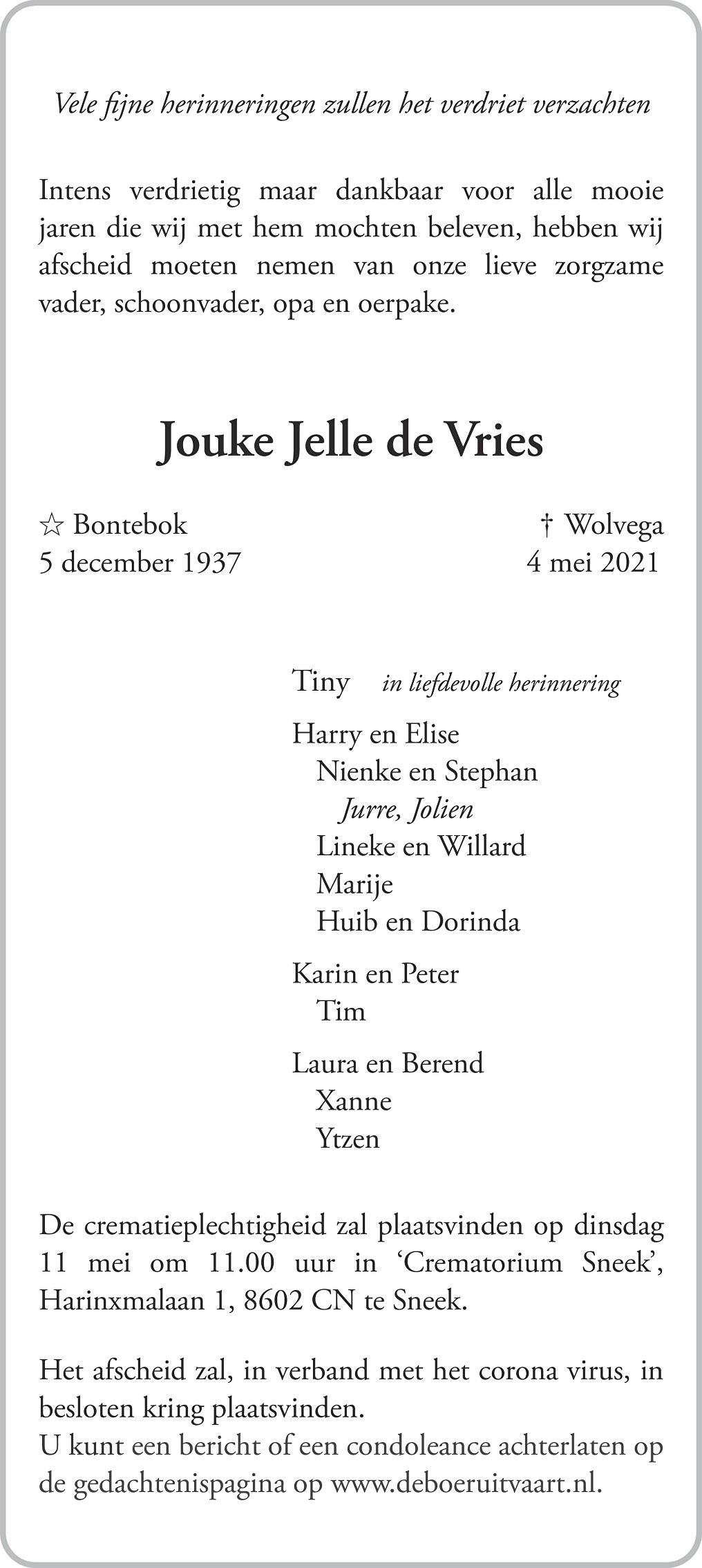 Jouke Jelle Vries Death notice