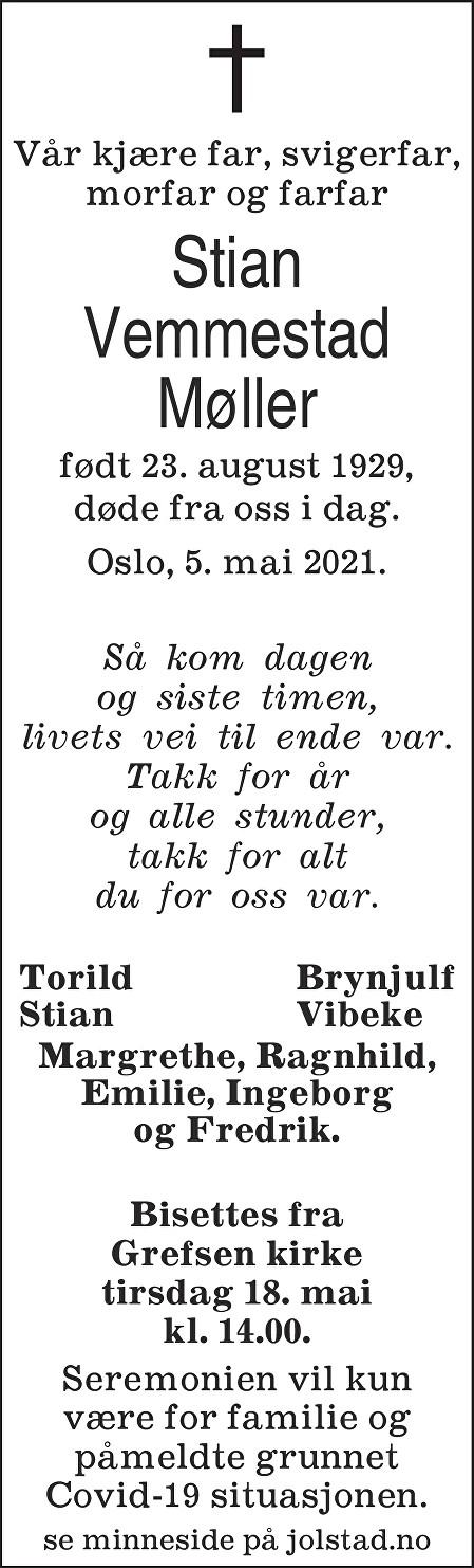 Stian Vemmestad Møller Dødsannonse