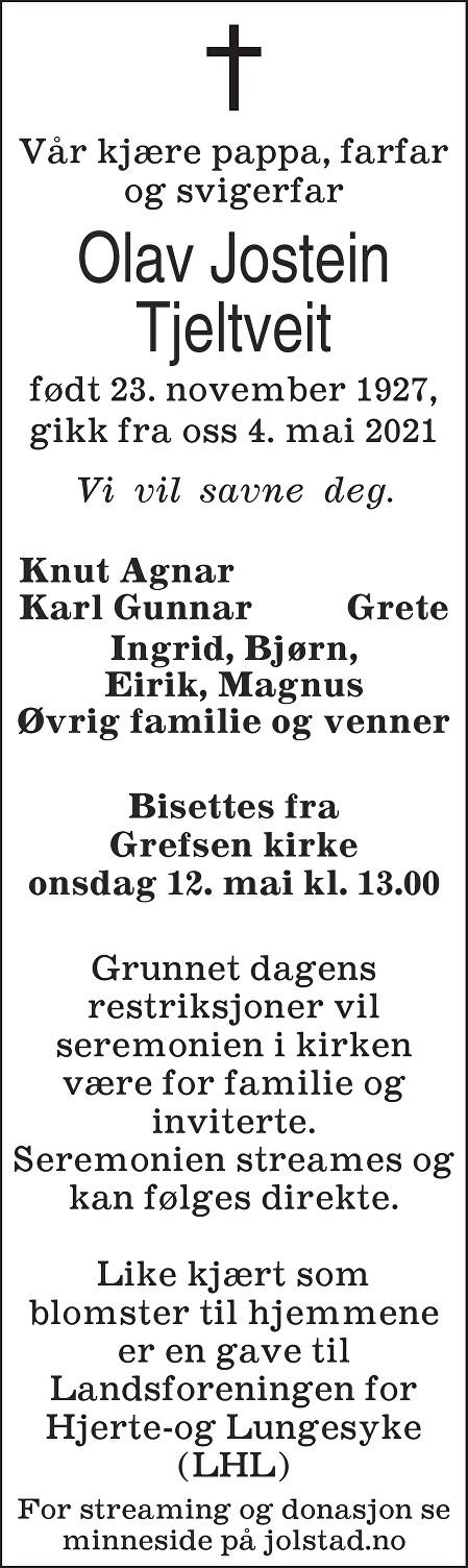 Olav Jostein Tjeltveit Dødsannonse