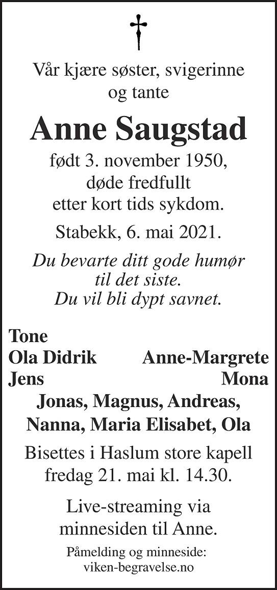 Anne Saugstad Dødsannonse