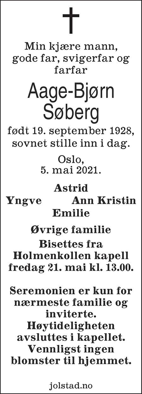 Aage-Bjørn Søberg Dødsannonse