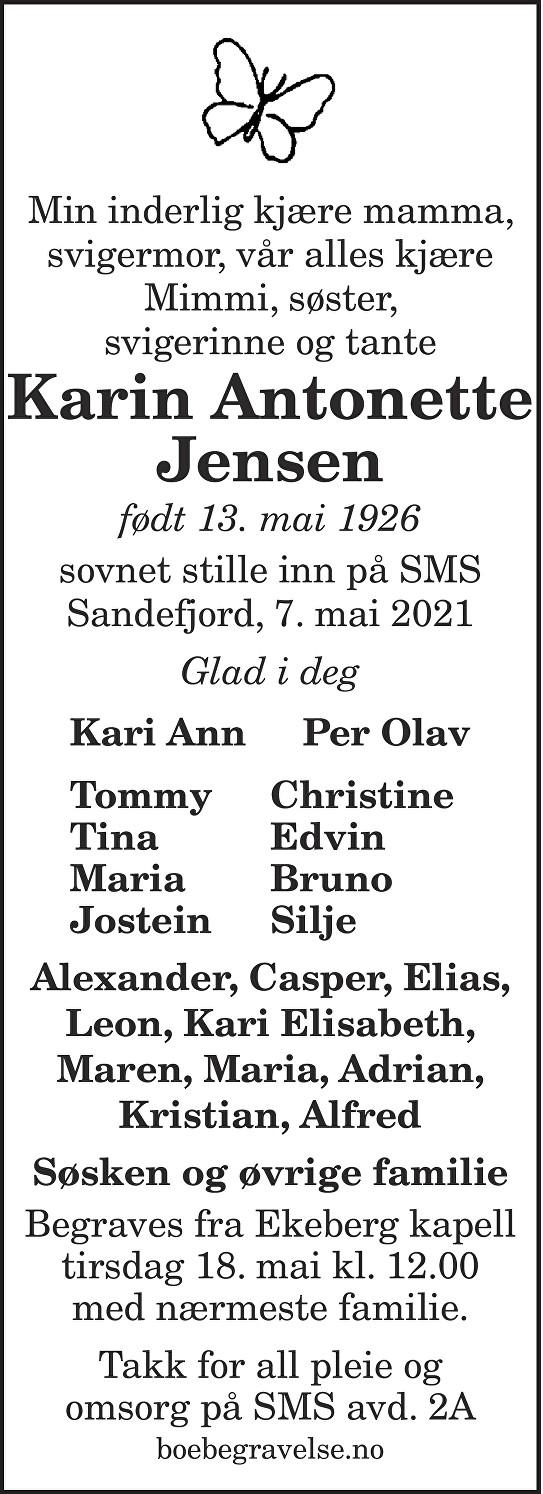 Karin Antonette Jensen Dødsannonse