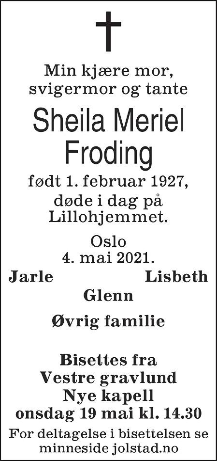 Sheila Meriel Froding Dødsannonse