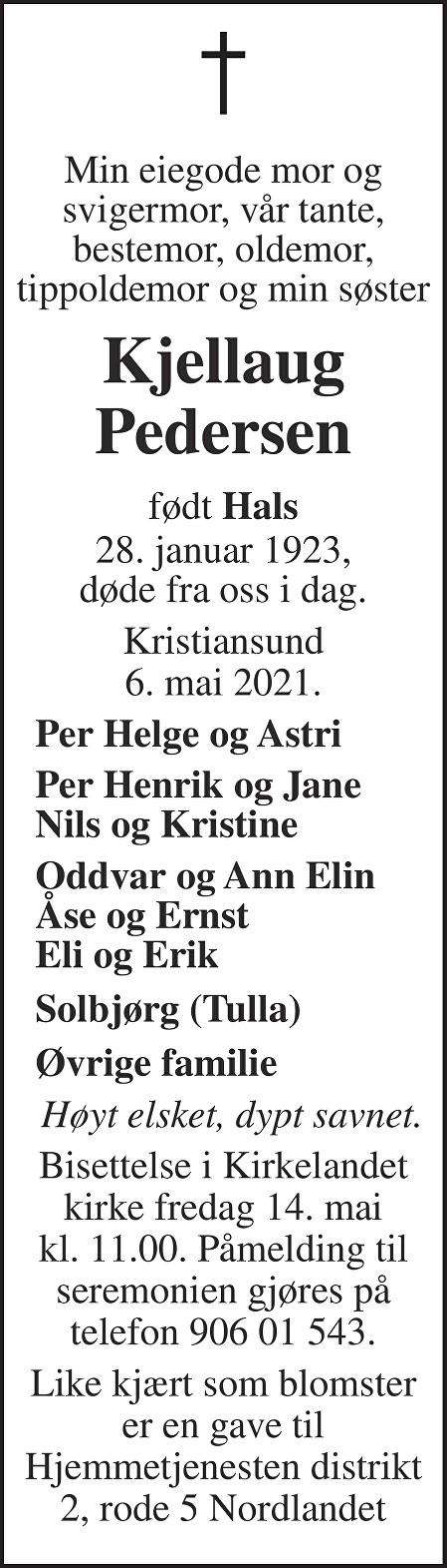 Kjellaug Pedersen Dødsannonse