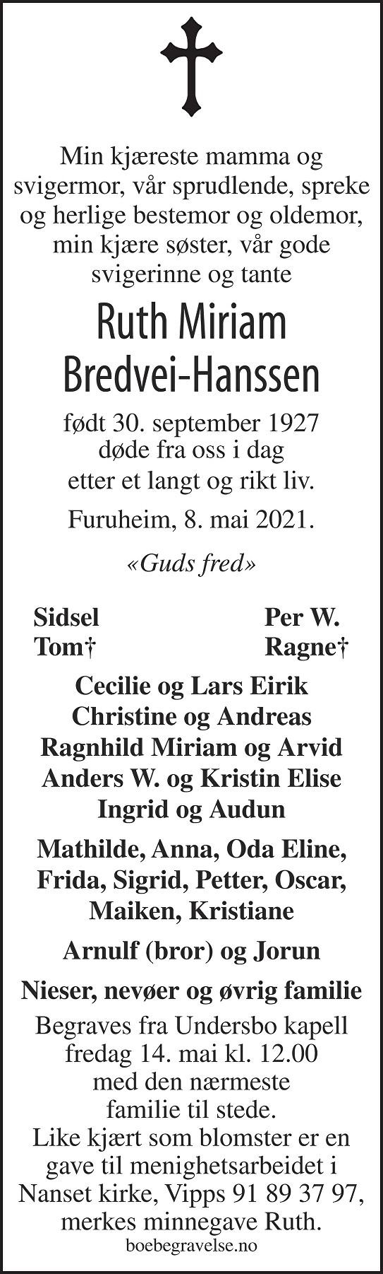 Ruth Miriam Bredvei-Hanssen Dødsannonse