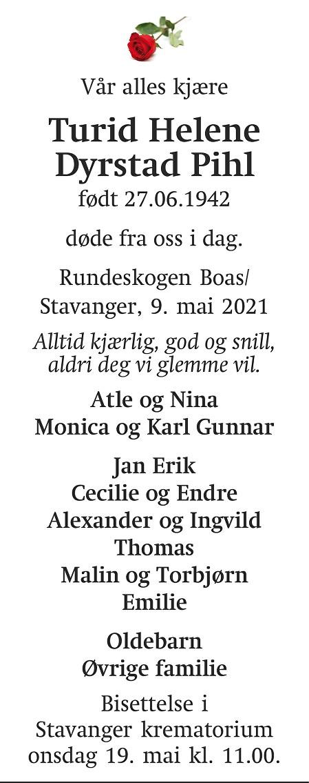 Turid Helene Dyrstad pihl Dødsannonse