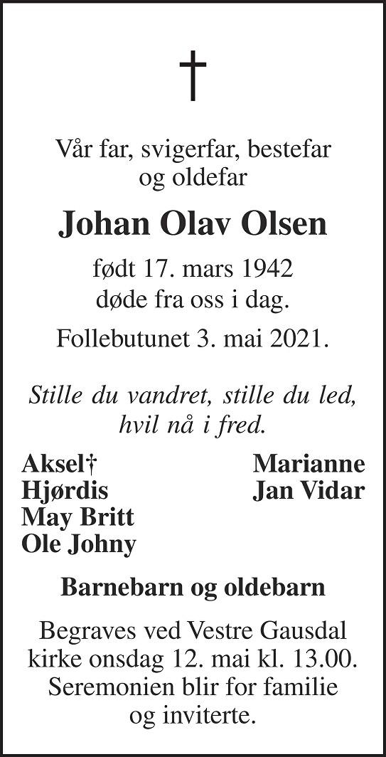 Johan Olav Olsen Dødsannonse