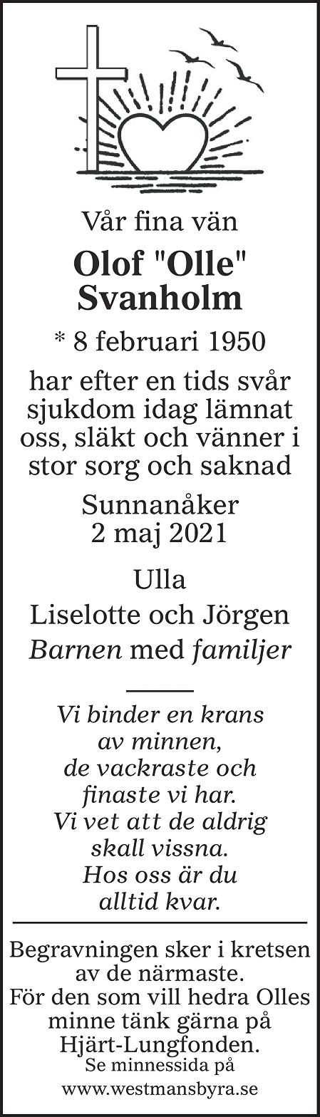 Olof Svanholm Death notice
