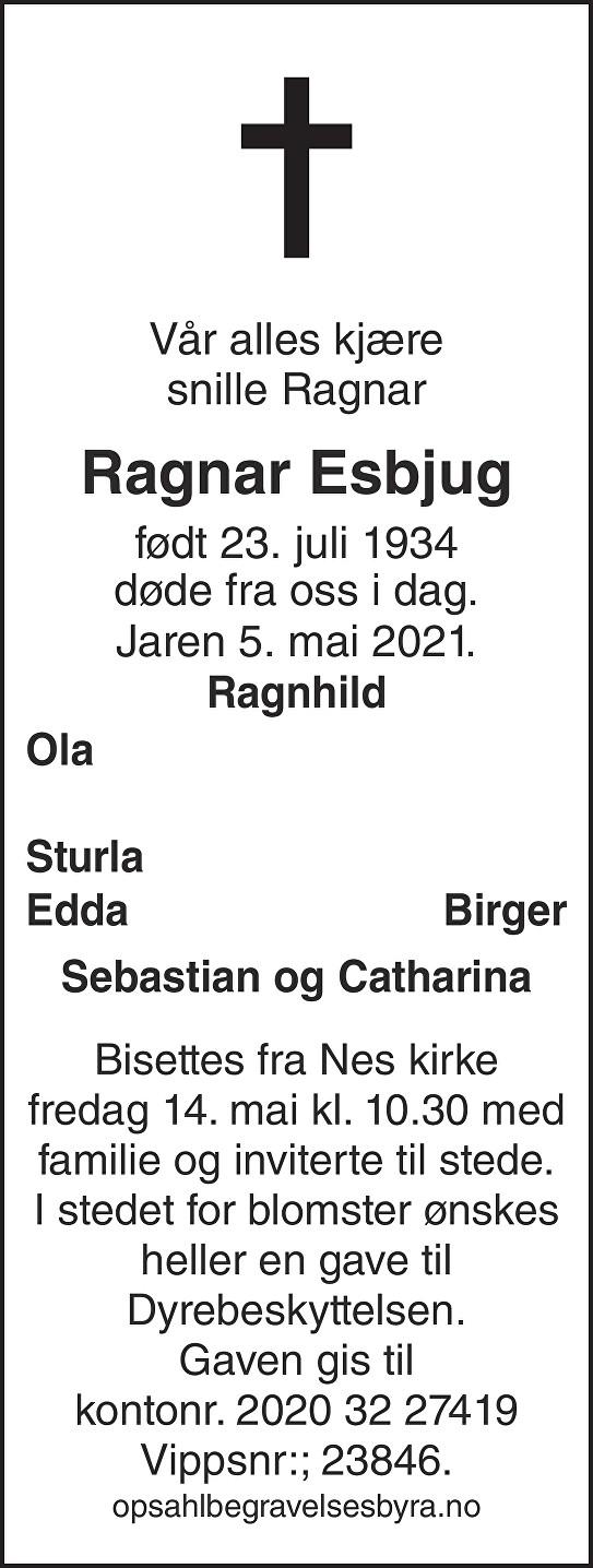 Ragnar Esbjug Dødsannonse
