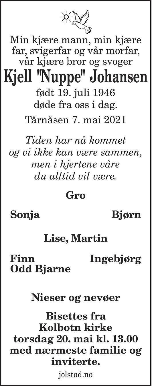 """Kjell """"Nuppe"""" Johansen Dødsannonse"""