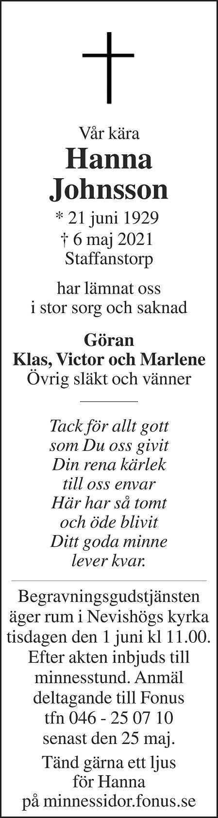 Hanna Johnsson Death notice