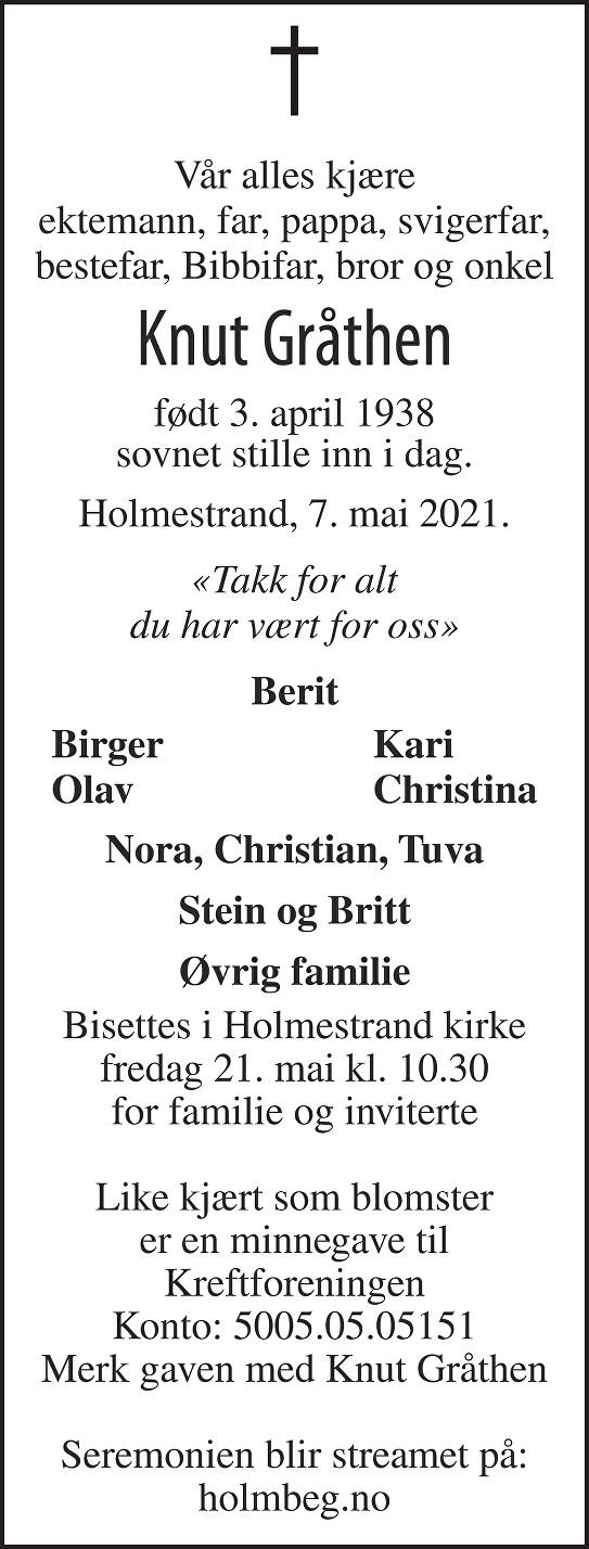 Knut Odd Helge Gråthen Dødsannonse
