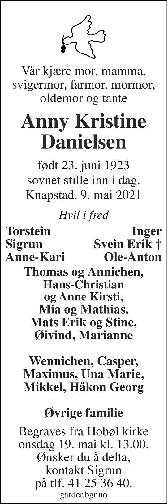 Anny Kristine Danielsen Dødsannonse