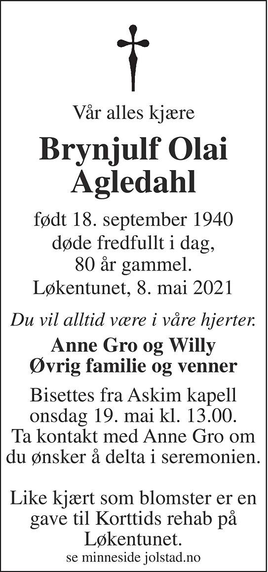 Brynjulf Olai Agledahl Dødsannonse