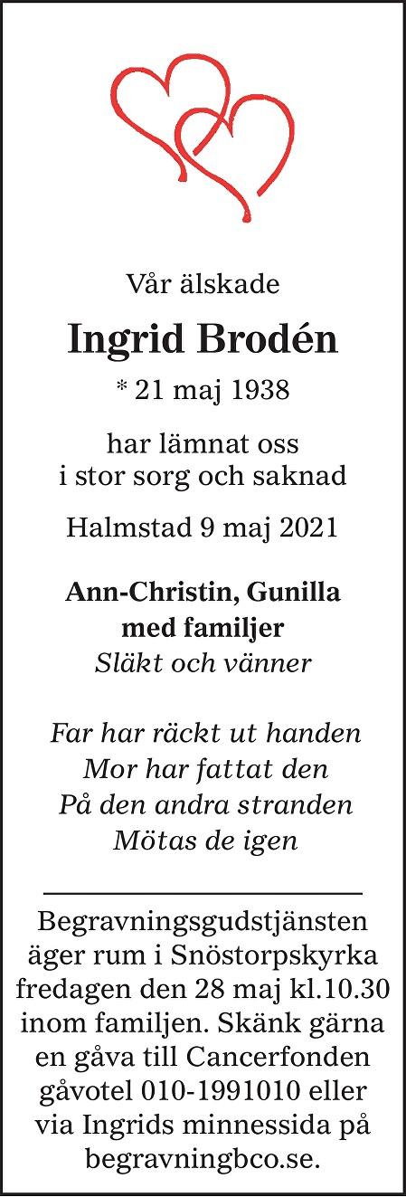 Ingrid Brodén Death notice