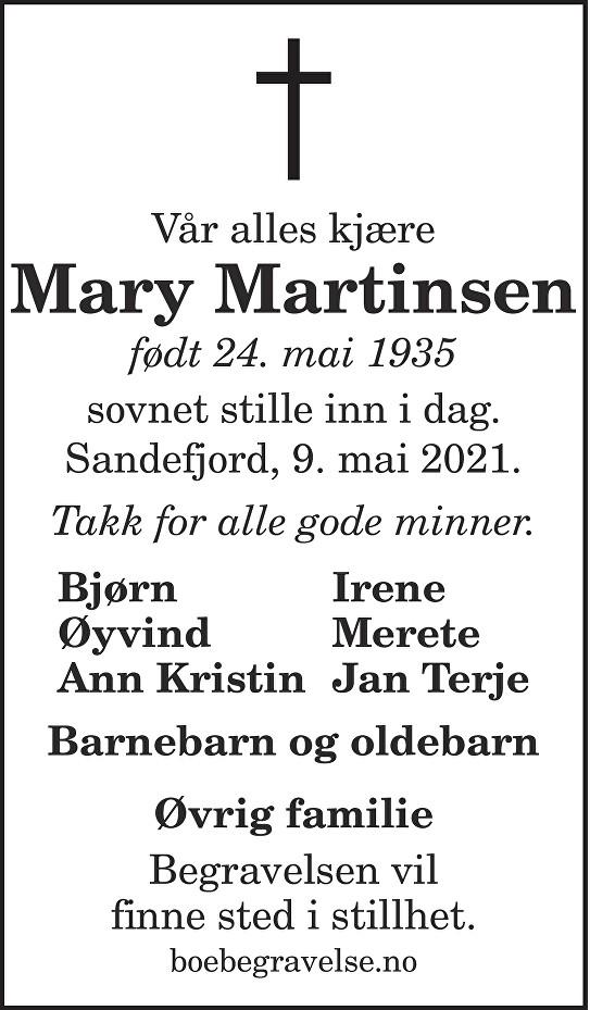 Mary Martinsen Dødsannonse