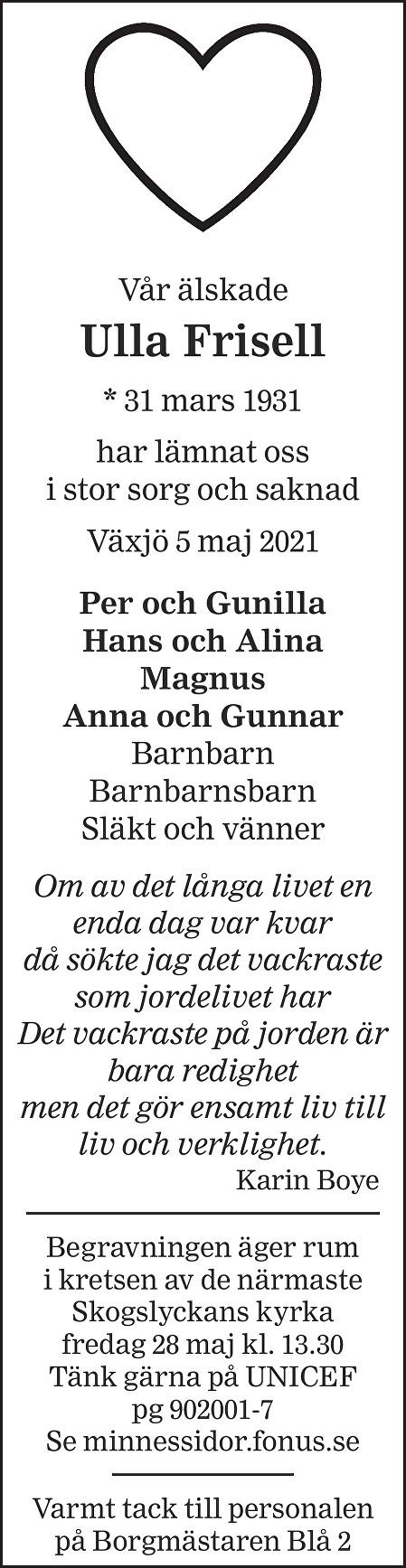 Ulla Frisell Death notice