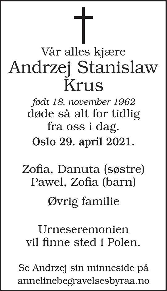Andrzej Stanislaw Krus Dødsannonse
