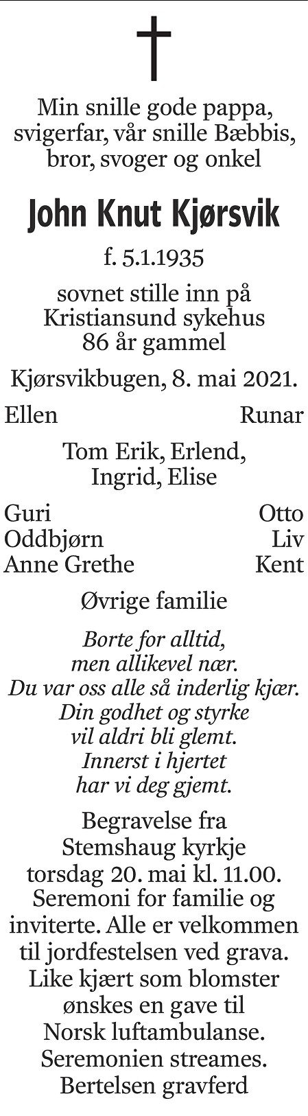 John Knut Kjørsvik Dødsannonse