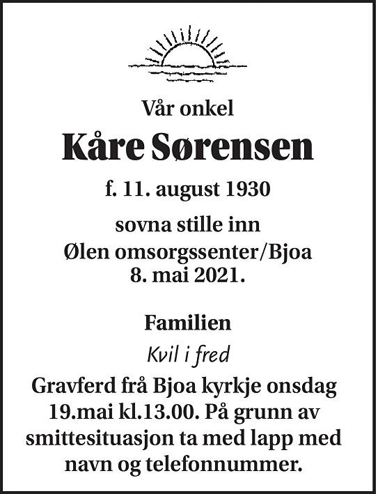 Kåre Sørensen Dødsannonse