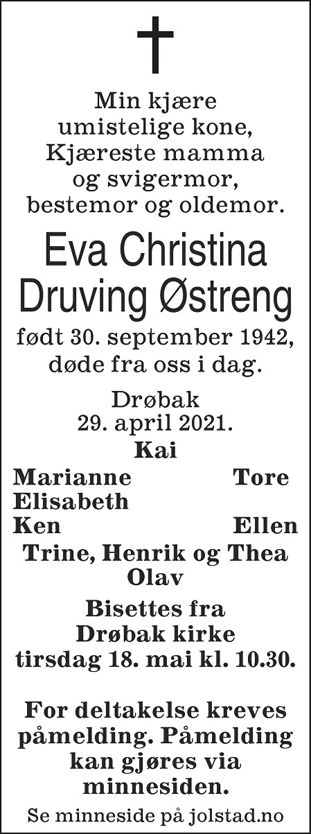 Eva Christina Druving Østreng Dødsannonse