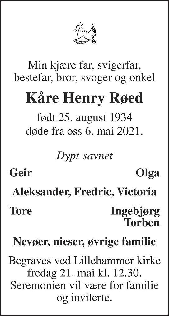 Kåre Henry Røed Dødsannonse
