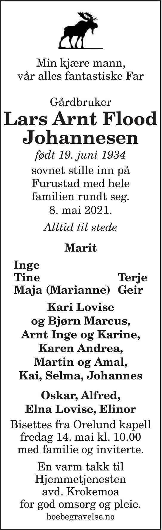 Lars Arnt Flood Johannesen Dødsannonse