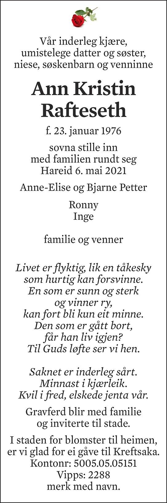 Ann Kristin Rafteseth Dødsannonse