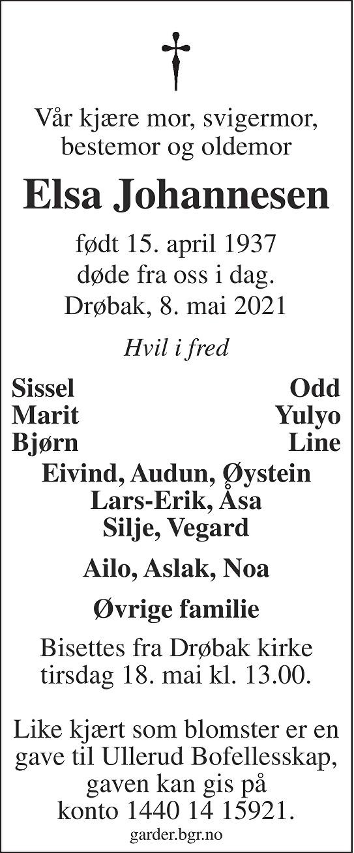 Elsa Berit Johannesen Dødsannonse