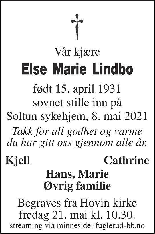 Else Marie Lindbo Dødsannonse