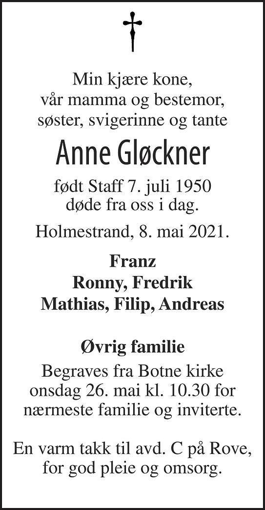 Anne Gløckner Dødsannonse