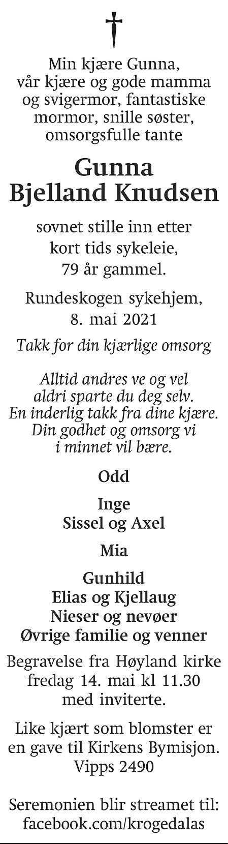 Gunna Bjelland Knudsen Dødsannonse