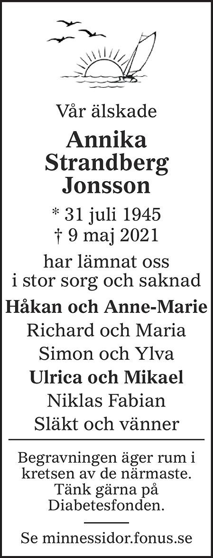 Annika Strandberg Jonsson Death notice