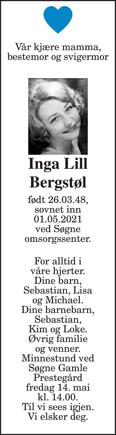 Inga Lill Bergstøl Dødsannonse