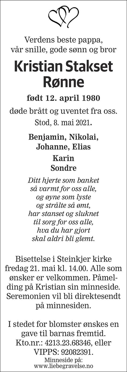 Kristian Stakset Rønne Dødsannonse