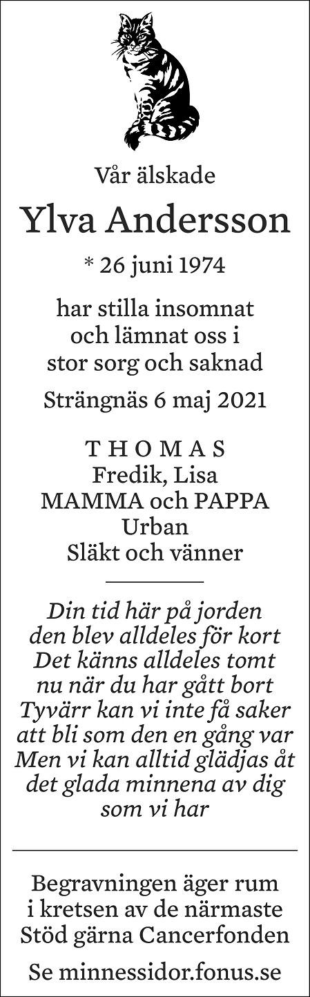 Ylva Andersson Death notice