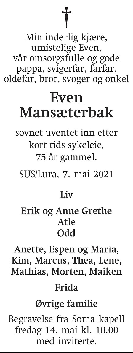 Even Olav Mansæterbak Dødsannonse