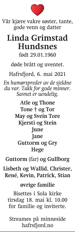 Linda Grimstad Hundsnes Dødsannonse