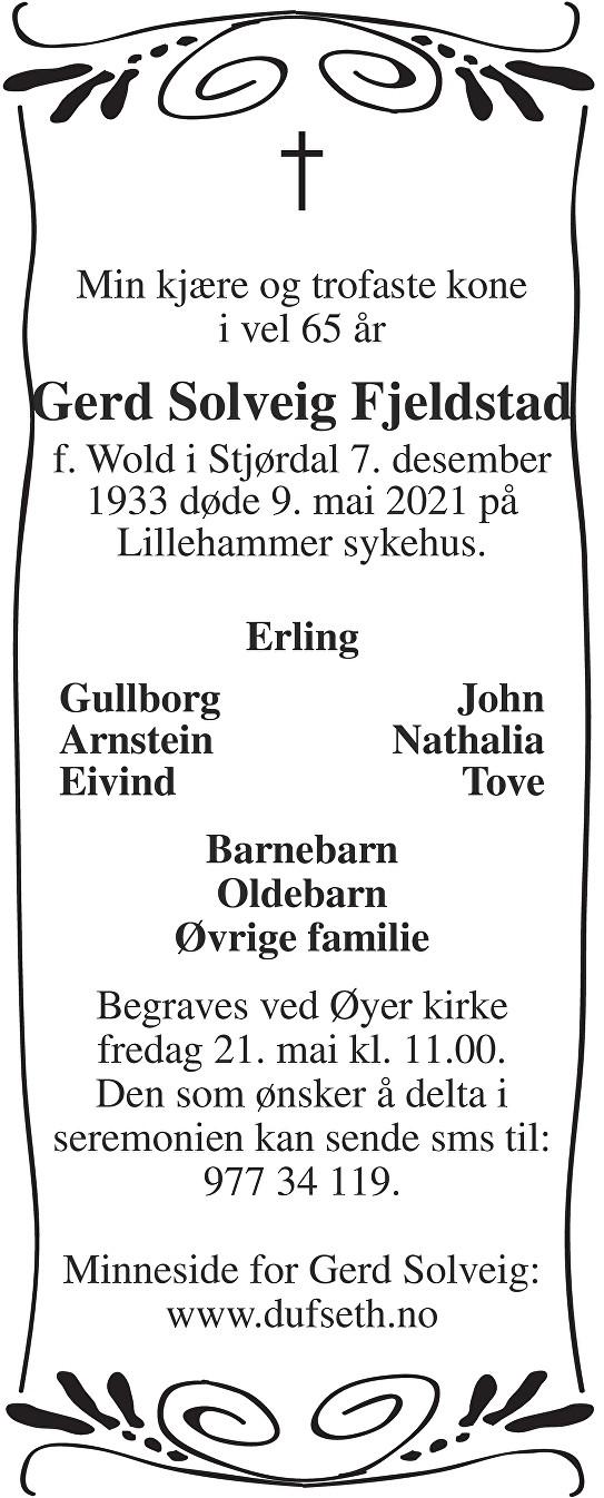 Gerd Solveig Fjeldstad Dødsannonse