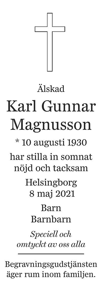 Karl Gunnar Magnusson Death notice