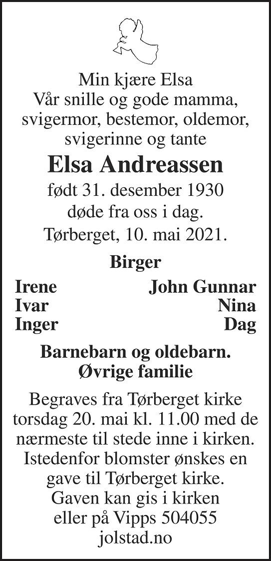 Elsa Andreassen Dødsannonse